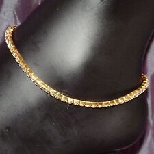 New 3mm Gold Stainless Steel Anklet White Crystals Stretch Bridal Wedding Beach