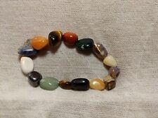 "Mixed Chakra Crystal Healing Gemstone Tumbled Beaded Nugget Stretch Bracelet 8"""