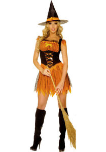 Witch Costume Ladies 2Pc Short Sexy Pretty Blk & Orange Dress & Hat Medium