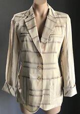 NWT Cream & Brown Stripe RODIKA ZANIAN Linen Look Jacket/Blazer Size 38 (AU10)