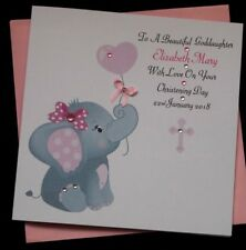 Handmade Personalised Girls Christening  Card GoddaughterGranddaughter Niece Etc