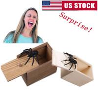 Funny Scare Box Spider Hidden in Case Wooden Prank Scarebox Joke Trick Play Toys