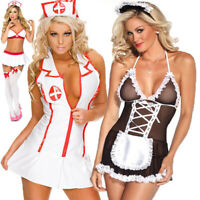 Women/'s Deep V Lingerie Babydoll Hot Nurse SM Uniform Maid Night Dress Sleepwear