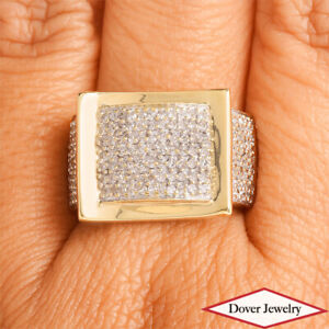 Estate Diamond 14K Two-Tone Gold Cluster Buckle Cocktail Ring 6.4 Grams NR