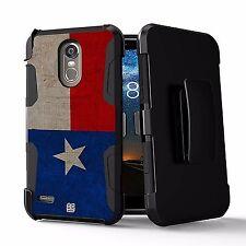 For LG Stylo 3,Stylo 3 PLUS, LS777 Hybrid Rugged Armor Case Belt Clip Texas Flag