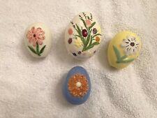 4 Ceramic Easter Eggs Colorful Flower Decorations 3 & 2 in. Vtg