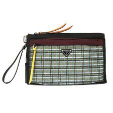 NEW $580 PRADA MEN'S Plaid SAFFIANO LEATHER TRIM LOGO WRISTLET Clutch Travel BAG