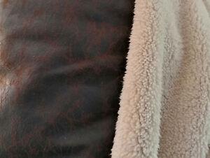 Kunstleder mit weicher Fellabseite Braun 25 X 140 cm Antik Optik 520g/lfm Fell