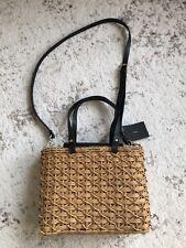 New Zara Natural Square Basket Bag Handbag Beach Tote Fashion Bag Natural Black