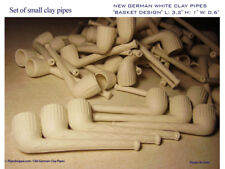 "24 NEW GERMAN WHITE CLAY PIPES ""BASKET"" L: 3,2"" H: 1"" W: 0.6"" GUEST-TEST-PIPE"