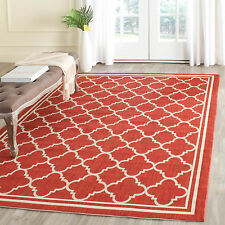 "Safavieh Power-loomed Poolside Red/ Bone Indoor/ Outdoor Rug (4' x 5'7"")"