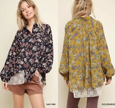 XL 1XL 2XL UMGEE NAVY or GOLDENROD floral with Lace Extend Blouse/Top/SHIRT BHCS