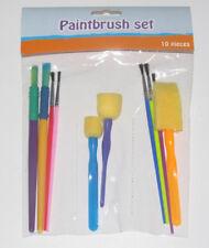 Set x10 Pinceaux & Brosse Mousse Travaux Peinture Loisir Créatif Paintbrush Set