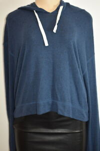 Hollister Blue Cotton Blend Long Sleeve women's Hoodie top Size Large On Sale