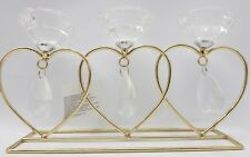 Gold and Glass Crystal Triple Heart Tealight Holder