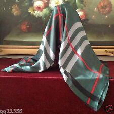"New Women silk oversized Nava Check Plaid long scarf shawl wrap 36""x70"" GREEN"