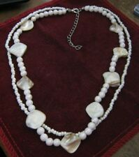 "Double Strand 16"" Necklace, White Glass Heshi, AB & MOTHER OF PEARL Beads LQQK!"