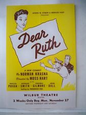 DEAR RUTH Herald PHYLISS POVAH / VIRGINIA GILMORE / JOHN DALL Tryout BOSTON 1944