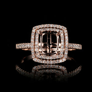 Solid 10K Rose Gold Cushion Cut 4.5x5.75mm Diamond jewelry semi mount ring 2.7g