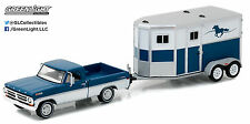 1:64 GreenLight *HITCH & TOW 9* Blue 1972 Ford F-100 Pickup w/HORSE TRAILER NIP!