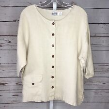 Kiko womens Lagenlook style button front Linen top size Large