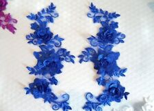 """DIY 3D Lace Appliques Blue Floral Embroidered Mirror Pair 10.5"""" Sew on (DH65)"""