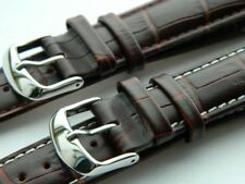 Genuine Calf Leather Watch Strap Embossed Louisiana Alligator Pattern Chestnut
