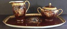 Carlsbad Bohemian Czech Napoleon Hand Painted Cream Sugar and Tray