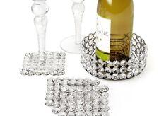 Z Gallerie Bling Crystal Glass Coasters, Set of 8, & 1 Wine Bottle Table Holder