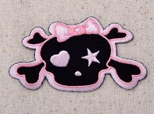LARGE Baby Girl Skull - Pink/Black Bow - Iron on Applique/Embroidered Patch