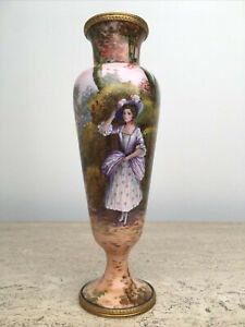 Antique Woman in Garden French Enamel on Copper Hand Painted by Gamet Pink Vase
