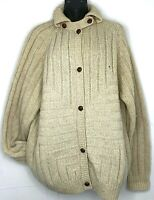 Vtg Jilly Knits Womens Cardigan Sweater Wool Beige Cream Braid Leather Button XL