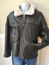 Wilsons Original Heavy Brown Genuine Leather Men's Jacket Insulated Size Large