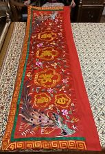 """Antique Chinese Qing Dynasty Wall Hanging  Hand Embroidery Panel 28"""" X 85"""""""