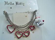 "Hello Kitty Armband ""HEART RING ANGEL KITTY"" Herze Strass pink SANRIO! NEU! Top!"