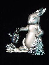 """JJ"" Jonette Jewelry Matte & Bright Silver Pewter 'Gardening RABBIT' Pin"