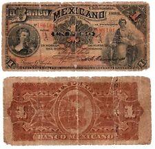 Mexico $1 Peso  Banco Mexicano 1888  S-153