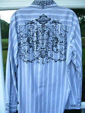 7 Diamonds Mens Long Sleeve 100% Cotton Gray White Black Striped Casual Shirt XL