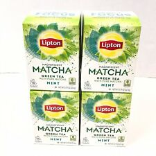 New in Box 4 Boxes 60 Bags Total Lipton Matcha Mint Green Tea Focus Exp 03/21