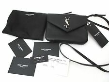AUTHENTIC YSL Saint Laurent crossbody monogram pouch Black Leather NEW WITH TAGS