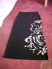 CHICO'S long SKIRT sz 1 (small 8 / 10) - black with white graphic KNIT VGC comfy