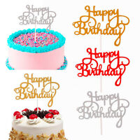 15 PCS Glitter Paper Happy Birthday Cake Topper Cupcake Dessert Decor Supplies