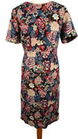 Monsoon 16 Multicoloured Short Sleeve Floral Embroidered Tapestry Style Dress