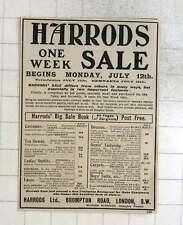 1909 Harrods One Week Sale, Costumes, Carpets, Overcoats