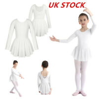 Kids Girls Ballet Dance Unitard Long Sleeves Irregular Hem Gymnastics Dancewear