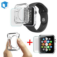 Apple Watch Series 4/ 3/ 2 Tempered Glass Screen Protector+Soft TPU Case 38/42mm