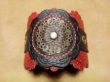 Handmade Leather Red Black Cuff Bracelet Gothic, LARP, Festival