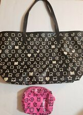 Marc Jacobs MJ Eazy Tote Monogram Logo  Coated Canvas Black + pouch