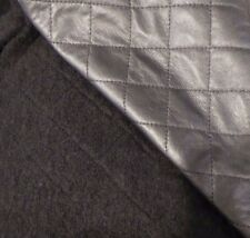 REVERSIBLE Italian Boiled Wool Jacketing in Black with Faux Leather Quilted Face