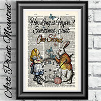 ALICE IN WONDERLAND dictionary book page print poster Lewis Carroll poster art